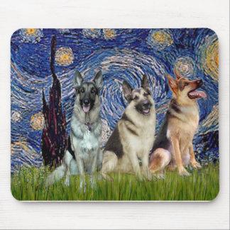 Starry Night - 3 German Shepherds Mouse Mat