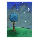 Starry Night, Abstract Landscape Tree Stars Moon