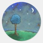 Starry Night, Abstract Landscape Tree Stars Moon Round Sticker