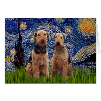 Starry Night - Airedale Terriers (two) Card