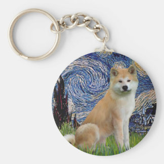Starry Night - Akita Inu Basic Round Button Key Ring