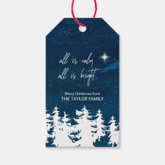 Starry Night All Is Calm All Is Bright Christmas Gift Tags