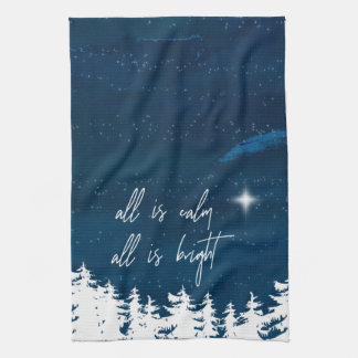 Starry Night All Is Calm All Is Bright Christmas Tea Towel