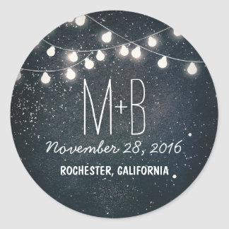 Starry Night and String Lights Wedding Round Sticker