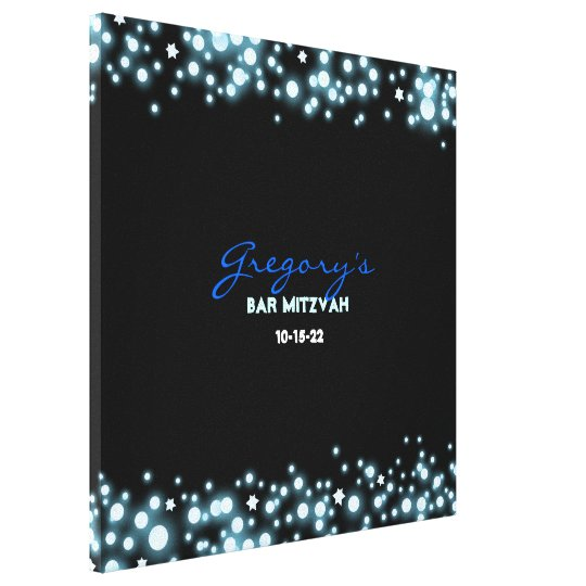STARRY NIGHT Bat Mitzvah Sign-In Memory Board Canvas