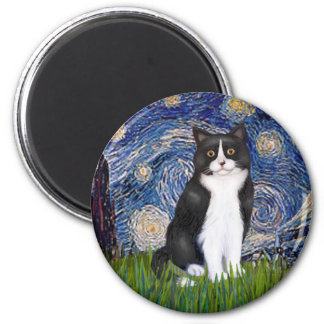 Starry Night - Black and White Cat 6 Cm Round Magnet