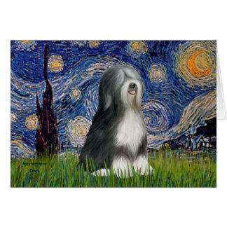 Starry Night - Black & White Tibetan Terrier Greeting Card