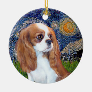 Starry Night - Blenheim Cavalier Puppy Christmas Ornament