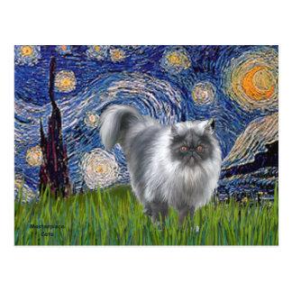 Starry Night - Blue Smoke Persian cat Postcard