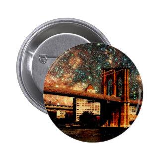 Starry Night Brooklyn Bridge Pinback Buttons