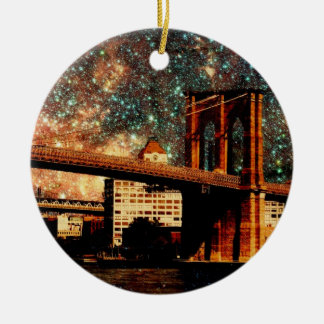 Starry Night Brooklyn Bridge Christmas Ornament