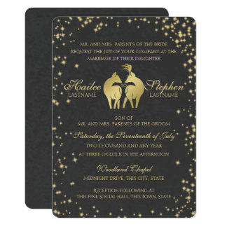 Starry Night Buck and Doe 13 Cm X 18 Cm Invitation Card