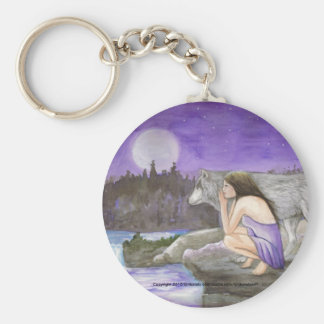 starry night by Lori Karels Basic Round Button Key Ring
