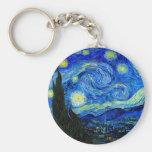 Starry Night by Van Gogh Basic Round Button Key Ring