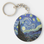 Starry Night By Vincent Van Gogh 1889 Basic Round Button Key Ring