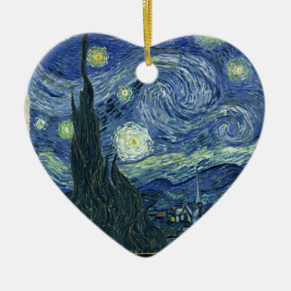 Starry night by Vincent Van Gogh Ceramic Heart Decoration