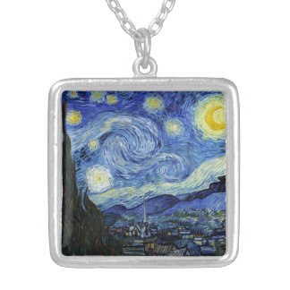 Starry Night by Vincent van Gogh Square Pendant Necklace
