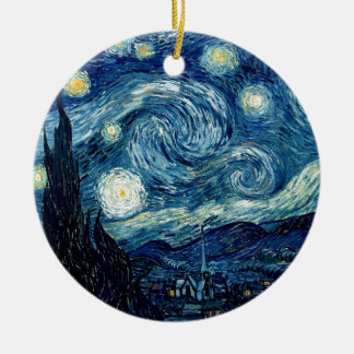 Starry Night By Vincent Van Gogh Round Ceramic Decoration