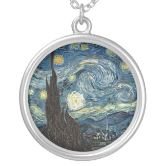 Starry Night by Vincent van Gogh Round Pendant Necklace