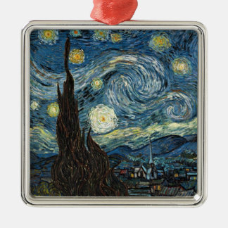 Starry Night by Vincent van Gogh Silver-Colored Square Decoration