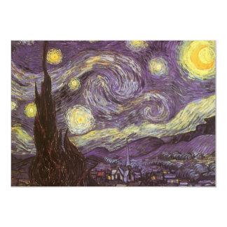 Starry Night by Vincent van Gogh, Vintage Fine Art 13 Cm X 18 Cm Invitation Card