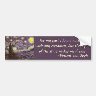 Starry Night by Vincent van Gogh, Vintage Fine Art Bumper Sticker