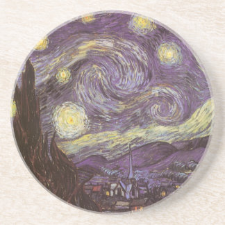Starry Night by Vincent van Gogh, Vintage Fine Art Coaster