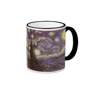 Starry Night by Vincent van Gogh, Vintage Fine Art Ringer Coffee Mug