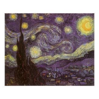 Starry Night by Vincent van Gogh, Vintage Fine Art Poster