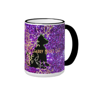 Starry Night Cat Sparkly Mugs CricketDiane