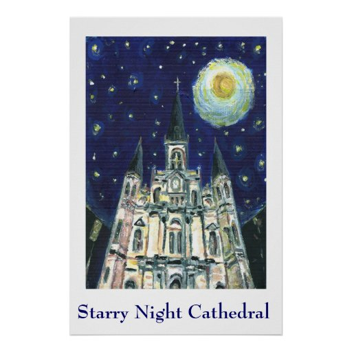 Starry Night Cathedral Poster
