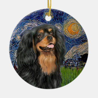 Starry Night - Cavalier (black / Tan) Christmas Ornament