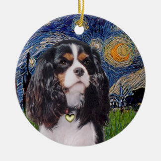 Starry Night - Cavalier (tri color) Round Ceramic Decoration