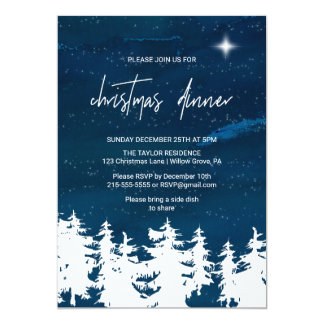 Starry Night Christmas Dinner Card