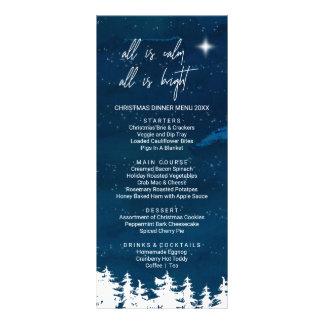 Starry Night Christmas Dinner Menu Card