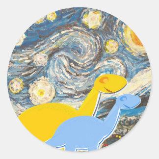 Starry Night Dinosaurs Classic Round Sticker