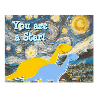Starry Night Dinosaurs Postcard