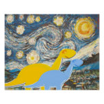 Starry Night Dinosaurs Poster Print