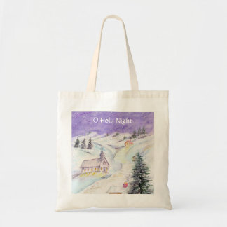 Starry Night Draped in Snow Christmas Watercolor Budget Tote Bag