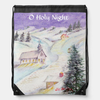 Starry Night Draped in Snow Christmas Watercolor Drawstring Bags
