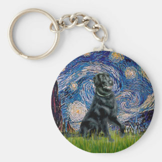 Starry Night - Flat Coated Retriever 2 Basic Round Button Key Ring