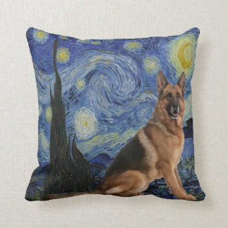Starry Night German Shepherd Throw Pillow
