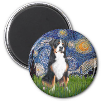 Starry Night-Greater Swiss Mountain Dog 6 Cm Round Magnet