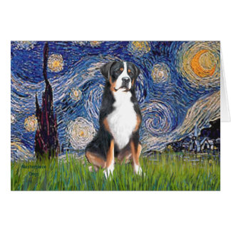 Starry Night-Greater Swiss Mountain Dog Card