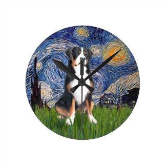 Starry Night - Greater Swiss Mountain dog Wall Clocks