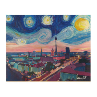 Starry Night in Berlin with skyline Wood Prints