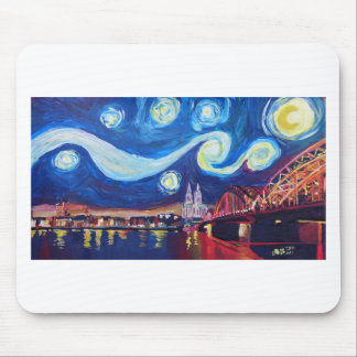 Starry night in Cologne Germany Mouse Pad