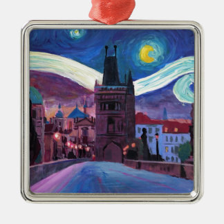 Starry Night in Prague  with Carlsbridge Christmas Ornament