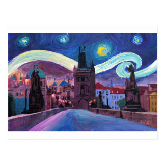 Starry Night in Prague  with Carlsbridge Postcard