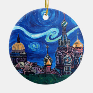 Starry Night in St Petersburg Russia Christmas Ornament
